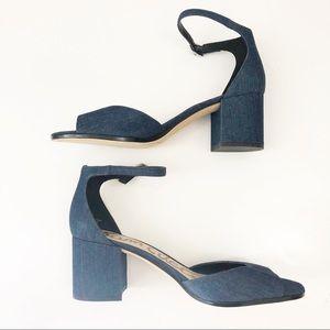Sam Edelman block heels Susie denim new